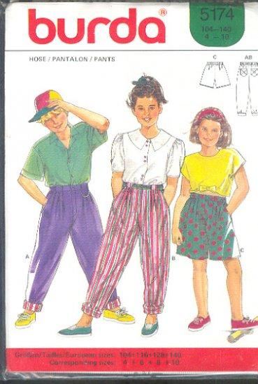 Burda Sewing Pattern 5174 Girls Pants and Shorts Size 4 - 10