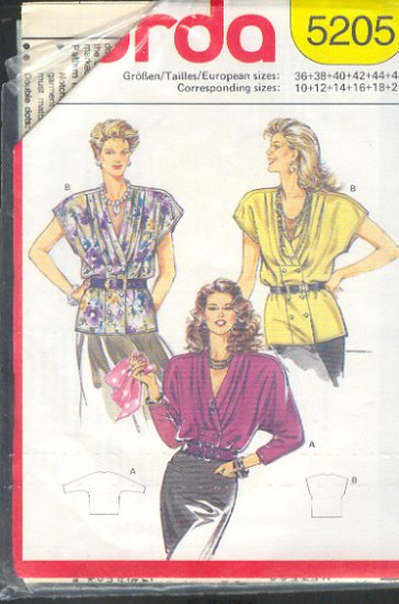 Burda Sewing Pattern 5205 Handsome Blouse with drape front Size 10 - 20