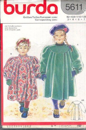 Burda Sewing Pattern 5611 Girl's High Fashion Coat, Size 3 - 7