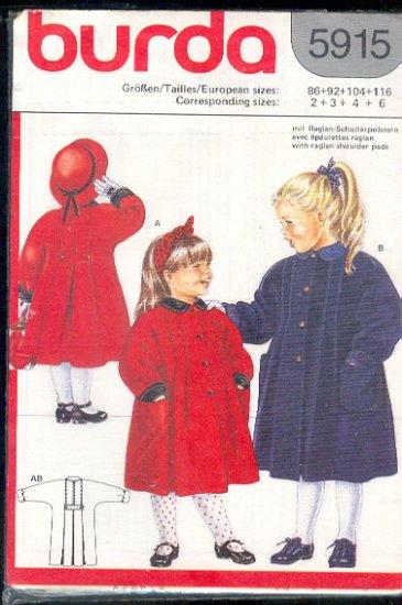 Burda Sewing Pattern 5915 Classic Girl's Coat, Size 2 - 6