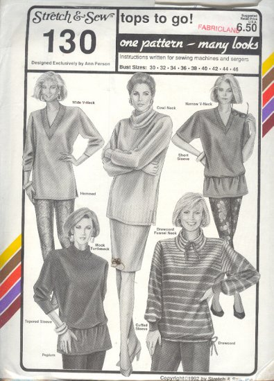 Stretch & Sew Sewing Pattern 130 Tops with neck variations and hem styles, Size bust 30-46