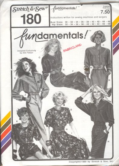 Stretch & Sew Sewing Pattern 180, Wardrobe Fundamentals, Size Bust 30 - 48
