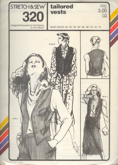 Stretch & Sew Sewing Pattern 320, Tailored Vests, four options, bust sizes 28 - 44
