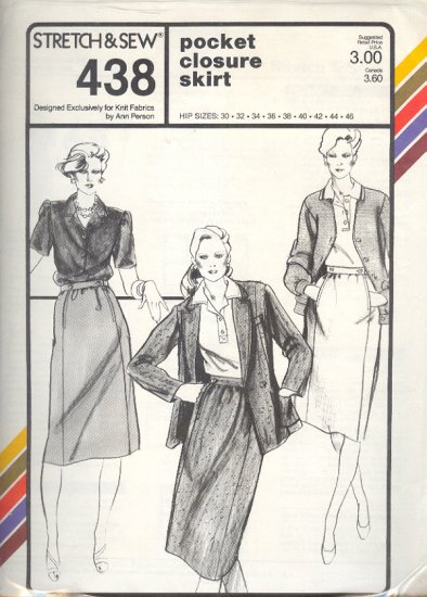 Stretch & Sew Sewing Pattern Pocket Closure Skirt, Hip sizes 30 - 46