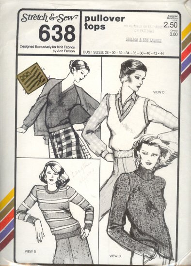 Stretch & Sew Sewing Pattern 638 Pullover tops with four neckline variations, bust size 28 - 44