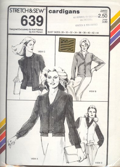 Stretch & Sew Sewing Pattern 639 Cardigans with variations, Bust Sizes 28 - 44