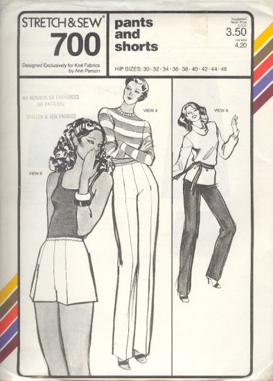 Stretch & Sew Sewing Pattern 700 Pants and Shorts hip sizes 30 - 46