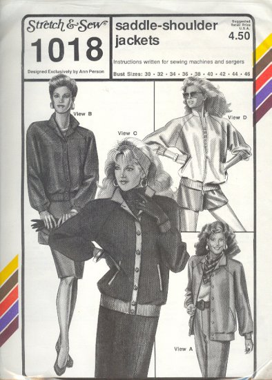 Stretch & Sew Sewing Pattern 1018 Saddle Shoulder Jackets, bust size 30 - 46
