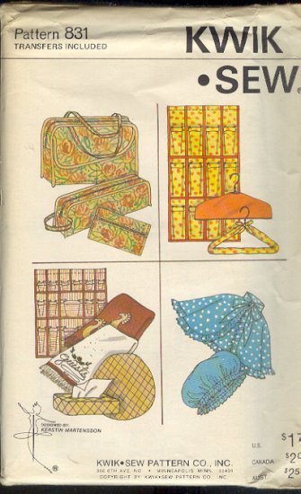 Kwik Sew Sewing Pattern 831 Bags, Totes, Closet and Personal Accessories One Size