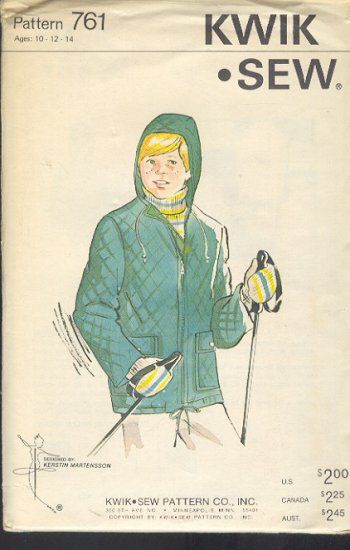 Kwik Sew Sewing Pattern 761 Quilted Hooded Jacket for Boy's Ages 10 12 14