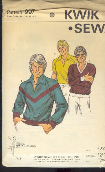 Kwik Sew Sewing Pattern 997, Man's Pull Over Shirt with neck and design variations, Size 34 - 40