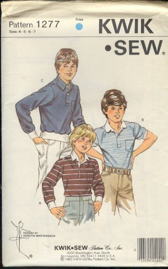 Kwik Sew Sewing Pattern 1277 Boy's Pullover Shirt with variations, Sizes 4 - 7
