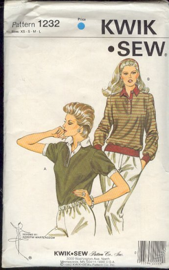 Kwik Sew Sewing Pattern 1232 Pullover top with variations, Sizes Bust 31 - 42