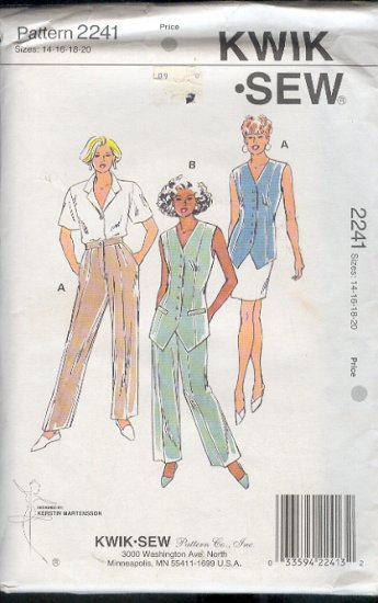 Kwik Sew Sewing Pattern 2241 Vest and Pants, Size 14 - 20