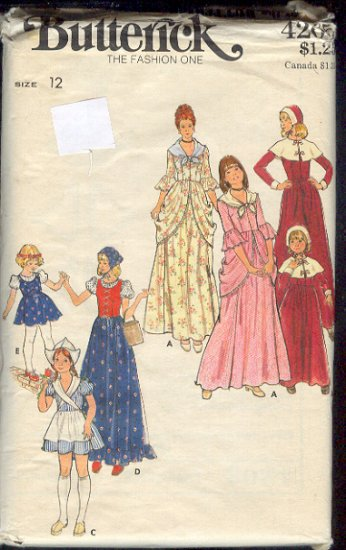 Butterick Sewing Pattern 4205 Pilgrim dresses including hats, Size 12