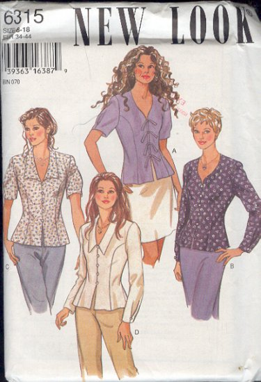 New Look Sewing Pattern 6315 Over Blouse with variations, Size 8 - 18