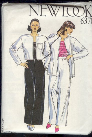 New Look Sewing Pattern 6370, Jacket, Long skirt and Wide Leg Pant, Size 8 - 18