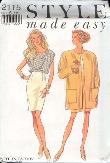 Style Sewing Pattern 2115 Big Jacket, top and Fitted Skirt, Sizes 8-18