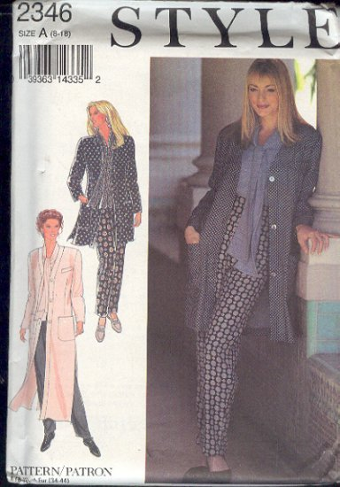 Style Sewing Patter 2346 Jacket in three lengths and Pants, Size 8 - 18