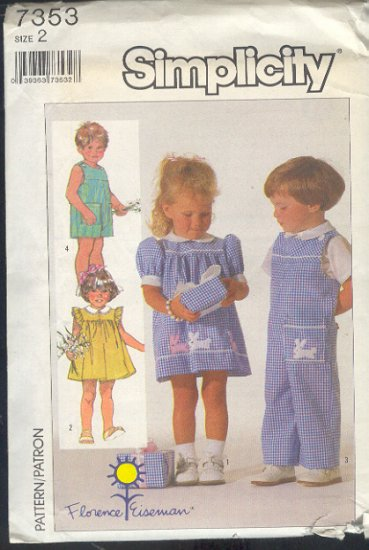 Simplicity Sewing Pattern 7353 Toddler Dress and Overalls, Size 2