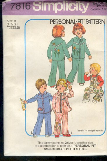 Simplicity Sewing Pattern 78916 Overall and Jacket Size 1 and 2