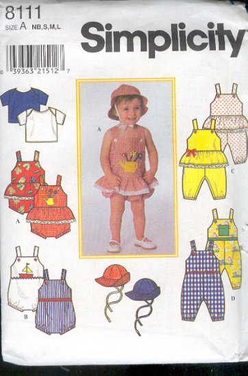 Simplicity Sewing Pattern 8111 Toddler Rompers, Shirt, Jumpsuit, Overalls and Hats Size 1-18 Mos