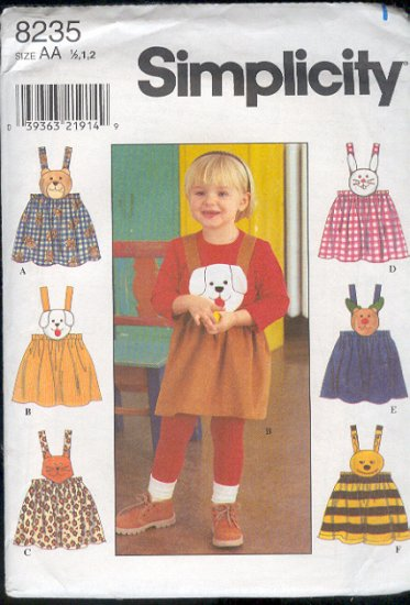 Simplicity Sewing Pattern 8235 Jumper with Six Removable bib Faces, Size 6 mos - 2 yrs.