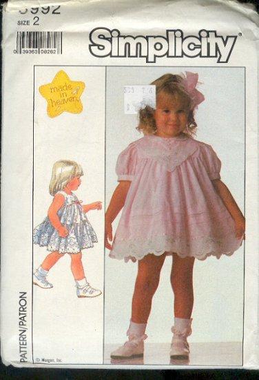 Simplicity Sewing Pattern 8992 Pretty Little Girl's Dress Size 2