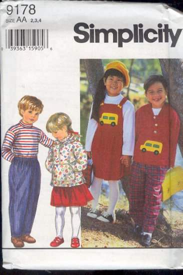 Simplicity Sewing Pattern 9178 Child's Hoody, Top, Pants, Jumper, Size 2 3 4