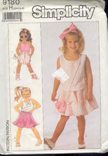 Simplicity Sewing Pattern 9180 Girl's Tank Top and Two Skirts with cute purse.  Size 2 3 4