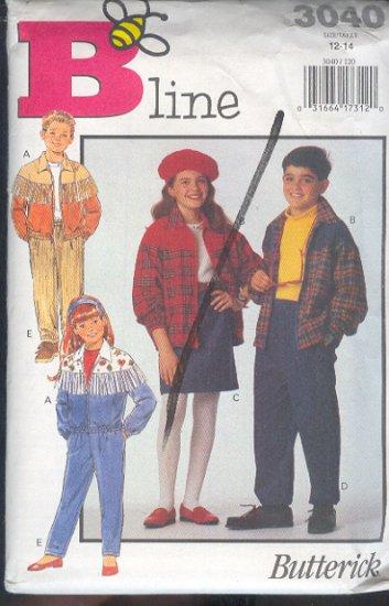 Butterick Sewing Pattern 3040 Kids Jacket, Skirt and Pant, Size 12 - 14