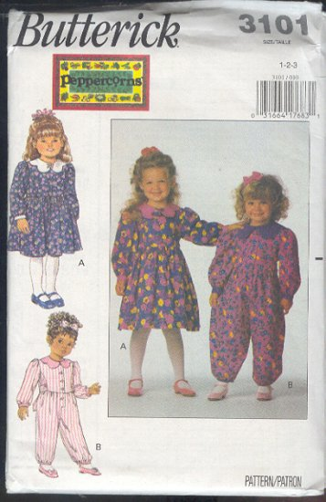 Butterick Sewing Pattern 3191 Girl's dress and Jumpsuit, Size 1 2 3