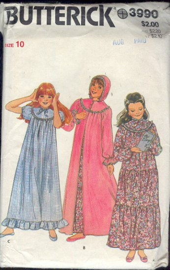 Butterick Sewing Pattern 3990 Robe with hood and night gown in two styles, Size Child's 10