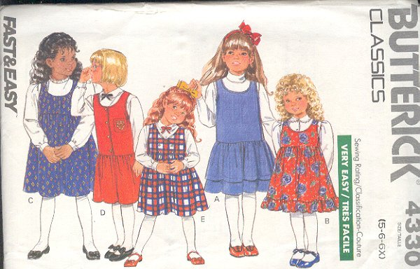 Butterick Sewing Pattern 4330 Dress with three variations, Size 5 6 6x