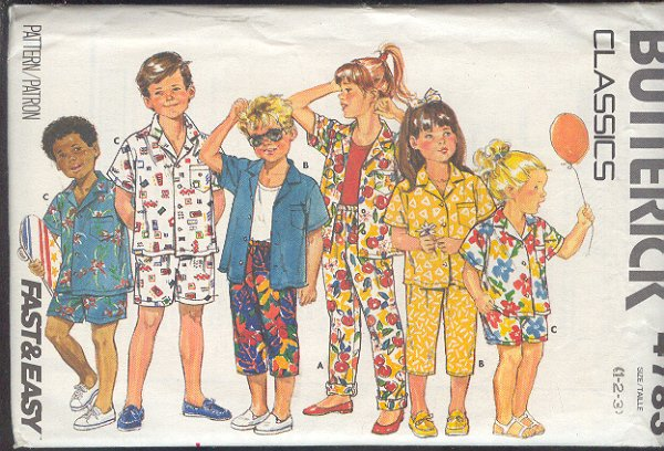 Butterick Sewing Pattern 4783 Shirt, Shorts and Pants and two lengths Size 1 2 3