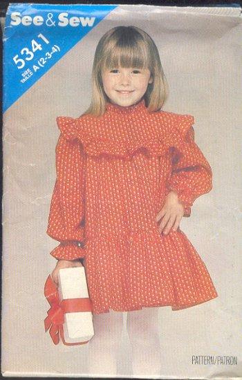 Butterick Sewing Pattern 5341 Girl's cute dress, Size 2 3 4