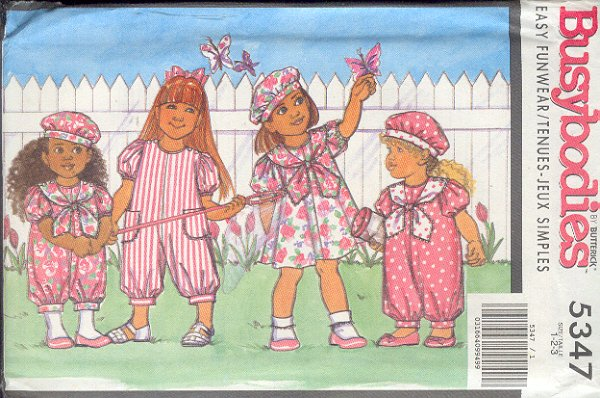 Butterick Swing Pattern 537 child's dress and jumpsuit with hat and bow..Size 1 2 3