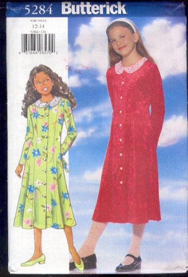 Butterick Sewing Pattern 5284 Girl's Dress, Size 12 14
