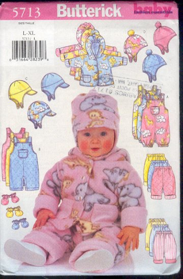 Butterick Sewing Pattern 5713 Hat, Mittens, Overalls, Jumsuit, Pant, Hoody, for sizes 22-29 lbs