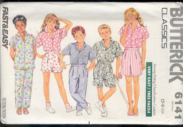 Butterick Sewing Pattern 6141 Shirt, Pants and Shorts for sizes 7 8 10