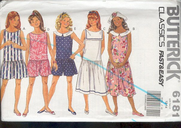 Butterick Sewing Pattern, 6181 Dress with five variations for sizes 12 14