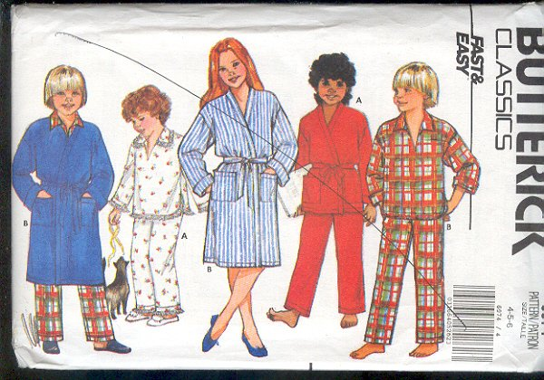 Butterick Sewing Pattern 6974 Pajamas and Robe for sizes 4 5 6