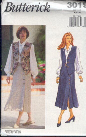 Butterick Sewing Pattern 3019 Classic Blouse, Vest and skirt, Sizes 6 8 10