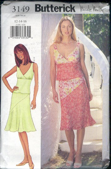 Butterick Sewing Pattern 3149 Soft flaired skirt and summery Tank top, Sizes 12 14 16