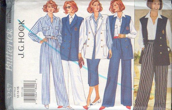 Butterick Sewing Pattern 3257 From J.G. Hook, Wardrobe, Vest, Blouse, Skirt & Patns, Size 12 14 16