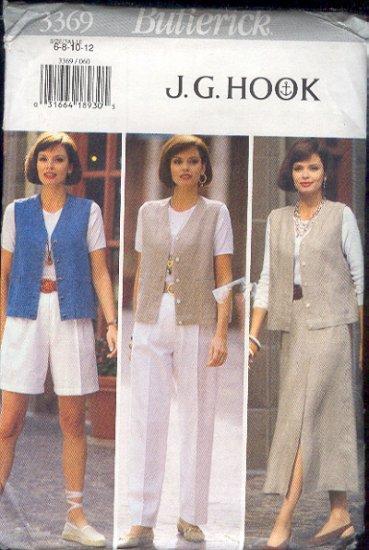Butterick Sewing Pattern 3369 by J.G.Hook, Wardrobe Vest, Skirt, Pants and Shorts, Sizes 6 - 12
