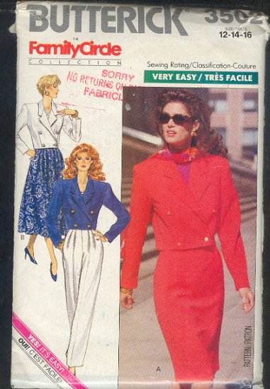 Butterick Sewing Pattern 3502 Crop Jacket, Two skirts and Pants, Size 12 14 16