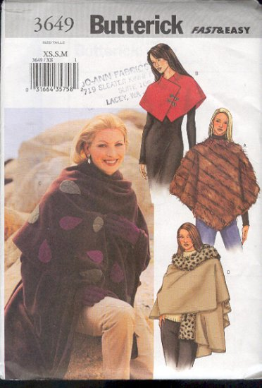 Butterick Sewing Pattern 3649 Shawl, Poncho, Capelette, Sizes XSm - Med