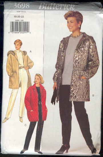 Butterick Sewing Pattern 3698 Jacket and Pants, Optional Hood, Sizes 18 20  22