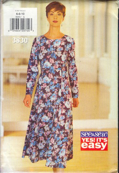 Butterick Sewing Pattern 3830 Classic Dress Sizes 6 8 10